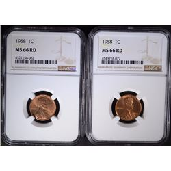 2 - 1958 LINCOLN CENTS NGC MS66 RD
