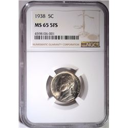 1938 JEFFERSON NICKEL, NGC MS-65 FS