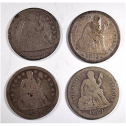 4-SEATED LIBERTY DIMES: SEE DSCRIPTION