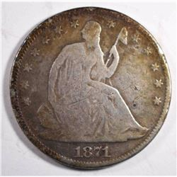 1871 SEATED HALF DOLLAR, VG POROUS