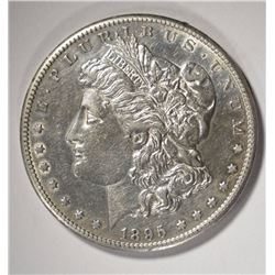 1895-S MORGAN SILVER DOLLAR, AU/UNC KEY COIN