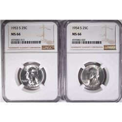 1953-S & 54-S WASHINGTON QUARTERS, NGC MS-66
