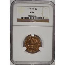 1916-S $5.00 INDIAN GOLD NGC MS 61  VERY NICE