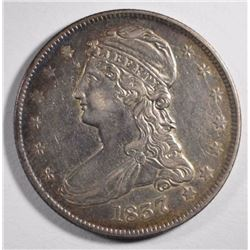 1837 REEDED EDGE CAPPED BUST HALF DOLLAR, VF