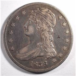 1838 CAPPED BUST HALF DOLLAR, VF