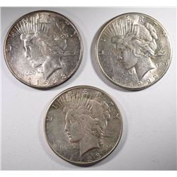 1922-S, 23 & 23-S PEACE DOLLARS, DECENT CIRC