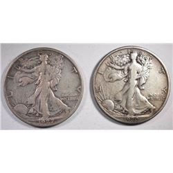 1920 & 27-S WALKING LIBERTY HALVES, VF KEY DATE