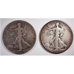 1928-S & 33-S WALKING LIBERTY HALF DOLLARS, VF