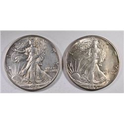 1941-D & 42 WALKING LIBERTY HALVES, CH BU