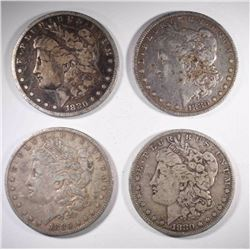 2-FINE & 2-VF 1880-O MORGAN DOLLARS