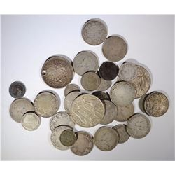 30-SILVER FOREIGN COINS MANY OLDER DATES