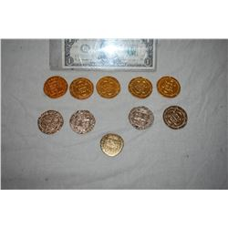PIRATES OF THE CARIBBEAN LOT OF 10 SCREEN USED TREASURE COINS A-GRADE 50