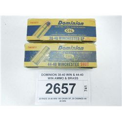DOMINION 38-40 WIN & 44-40 WIN AMMO & BRASS