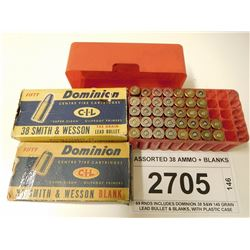 ASSORTED 38 AMMO + BLANKS