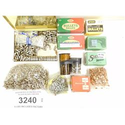 ASSORTED 22-250 BULLETS, SLUGS & GAS CHECKS