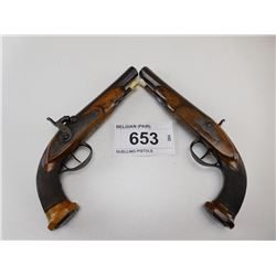 UNKNOWN BELGIAN , MODEL: PAIR OF PERCUSSION PISTOLS , CALIBER: 58 CAL