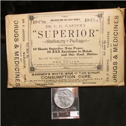 "Quack Doctor advertising Envelope containing ""Dr. C.D. Warner's ""Superior"" Stationery Package…Warner"