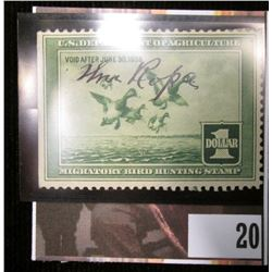 1937 U.S. Migratory Bird hunting Stamps, RW4, Signed.