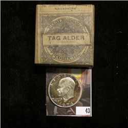 "1974S S Silver Proof Eisenhower Dollar; & Original Box with contents ""Tag Alder (Alus Rubra) Allaire"