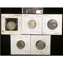 1919 P, 25 P, 26 P, 27 P, & 29 P Buffalo Nickels in holders, Good to Extra Fine.