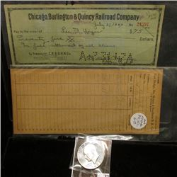 "Receiver Card ""Fort Dodge, Des Moines & Southern R.R. Co.""; 1947 cancelled check ""Chicago, Burlingto"