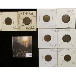 (5) Sets of 1909 P & 09 P VDB Lincoln Cents. Grading Good to VF.