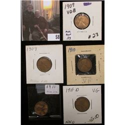 1909P, 09P VDB, 10P, 11P, & 11D Lincoln Cents grading up to VF.