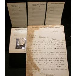 "1889 Letter of Correspondence on stationery from ""Burlington, Cedr Rapids & Northern Railway Assista"