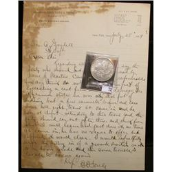 "1889 Letter of Correspondence on stationery from ""Burlington, Cedr Rapids & Northern Railway Train M"