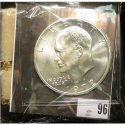 "1972 S Silver Gem BU Eisenhower Dollar; & Original Box with contents ""Life Everlasting Gnabbalium Po"