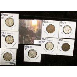 1892 G & 1903 Fine Indian Head Cents; 1936S F, 41P AU, D EF, S EF, 42S EF, & 44S EF Mercury Dimes.