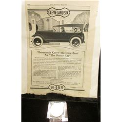"1921 Newspaper Advertisement for ""Cleveland Six Thousands Know the Cleveland as ""The Better Car…Clev"