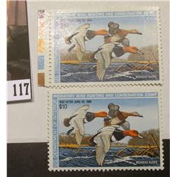 Pair of 1987 RW54 Federal Migratory Bird Hunting and Conservation $10.00 Stamp, not signed, Very Fin