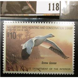 1988 RW55 Federal Migratory Bird Hunting and Conservation $10.00 Stamp, not signed, Very Fine.