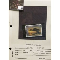 2002 RW69 Federal Migratory Bird Hunting and Conservation $15.00 Stamp, not signed, Very Fine.