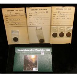 1921 S, VG; 1909 P VDB, Unc, and 1925S, 33D, & 55S Lincoln Cents on Ottumwa Coin Club Auction cards;