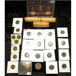 (3) Rolls of unsorted Washington Quarters; 1984 S U.S. Proof Set; 1845 U.S. Holed Large Cent; & a gr