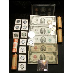 (4) Rolls of unsorted Washington Quarters; 1983 S U.S. Proof Set; (5) Uncirculated Native American D