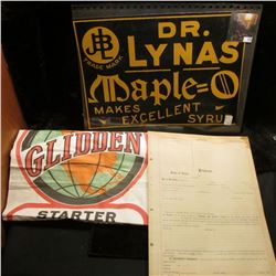 "(14) Unused forms from the early 1900s ""Certificate of Protest""; Quack Doctor sign ""Dr. Lynas Maple="