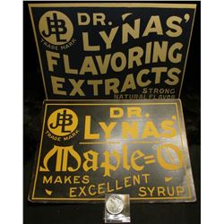 """Quack Doctor advertising sign """"Dr. Lynas Flavoring Extracts Strong Natural Flavor"""" & """"Dr. Lynas Mapl"""