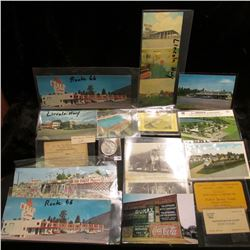Nice group of old memorabilia including Tacoma, Washington business card; Sacramento, California Bus