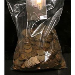 Bag of (500) Old U.S. Wheat Cents, not checked for dates, but seem to have several high grade coins.