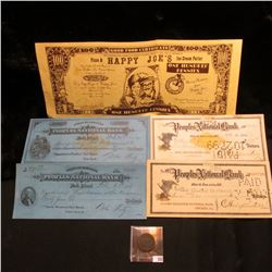 "1810 U.S. Large Cent, AG; $100 Bank note ""Happy Joe's Pizza and Ice Cream Parlor""; & (4) different 1"