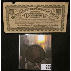 "1814 Plain 4, Large 4 U.S. Large Cent, VG; & an old ""United Cigar Stores Company of America"" 1/2 Cou"
