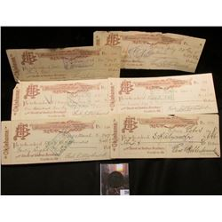 "1818 U.S. Large Cent, VG & (6) 1897 ""Bank of Indian Territory Guthrie, Ok."" Checks."