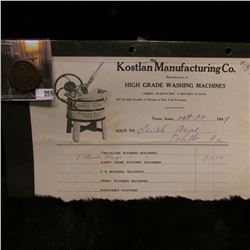 "1854 U.S. Large Cent, Fine; & 1909 Invoice from ""Kostlan Manufacturing Co. Manufacturers of High Gra"