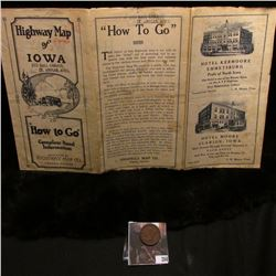 "1854 U.S. Large Cent, EF; & a 1927 ""Highway Map of Iowa"" stamped with ""Red Ball Garage, St. Ansgar,"