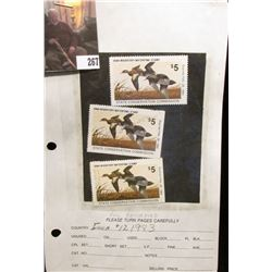 (3) 1983 IA12 Iowa $5 Migratory Waterfowl Stamps. One is unsigned and unused, excellent condition, t