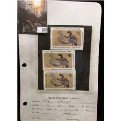 (3) 1985 IA14 Iowa $5 Migratory Waterfowl Stamps. Two are unsigned and unused, excellent condition,