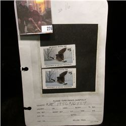 Pair of 1987 IA16 Iowa $5 Migratory Waterfowl Stamps. One signed, and the other unsigned and unused,